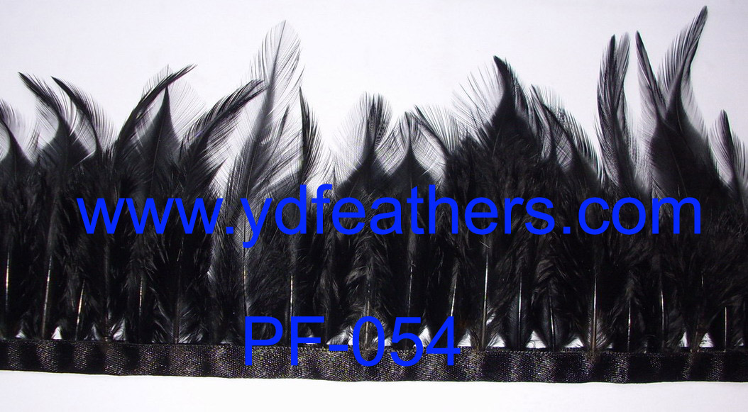 PF-054(dyed black cock saddles feather fringe)